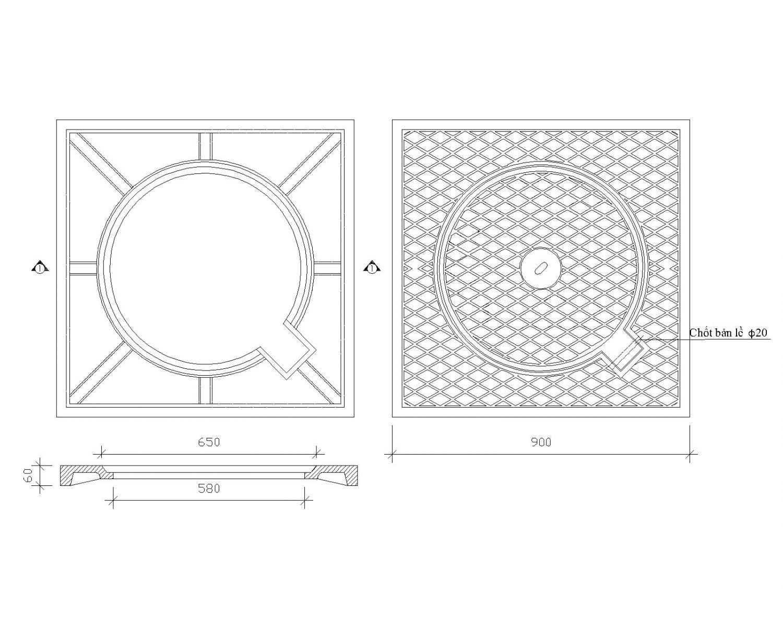 thiết kế nắp hố ga thân vuông