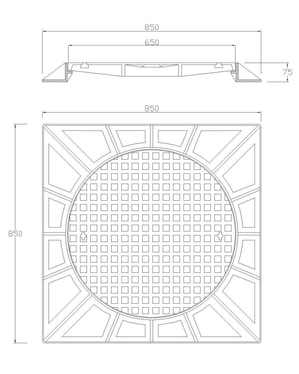 nắp ga gang thân vuông có bản lề