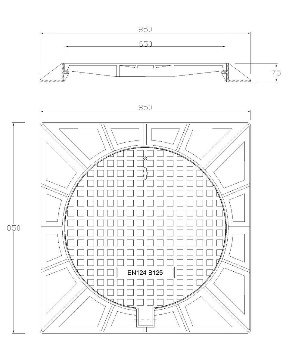 bản vẽ nắp hố ga thân vuông có bản lề
